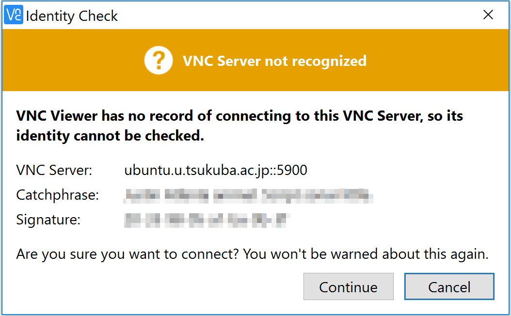 VNC Viewer - Identity Check